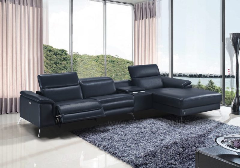 Fancy Homes Frisa recliner chaise leather sofa with adjustable headrests and electrical recliner. The built-in middle console featuring coffee table, cupholders and storage
