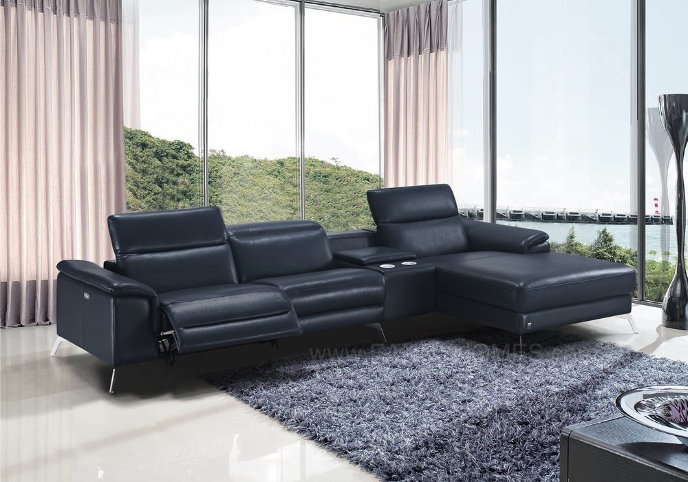 FRISA Recliner Chaise Leather Sofa