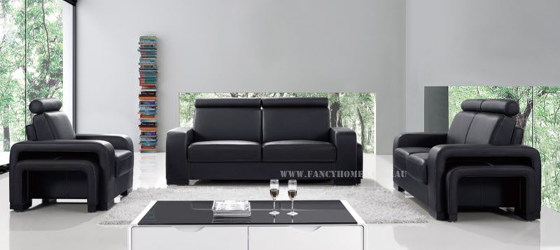 Fancy Homes Gemma lounges suites leather sofa in black leather