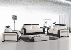 Fancy Homes Gemma lounges suites leather sofa in white and black leather featuring adjustable headrests and two-toned colour
