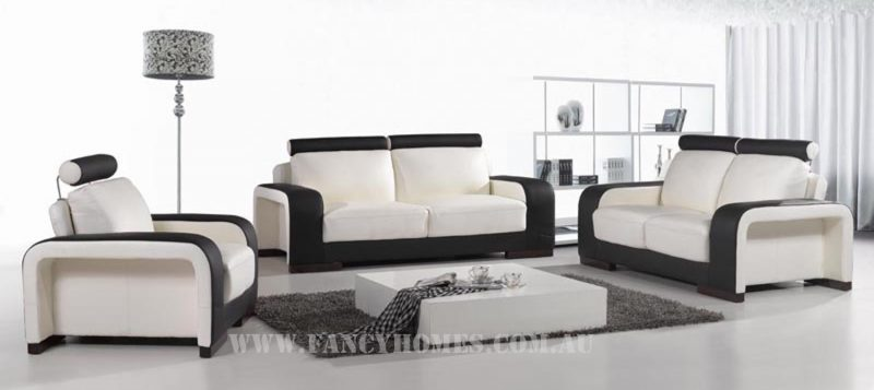 Fancy Homes Gemma lounges suites leather sofa in white and black leather