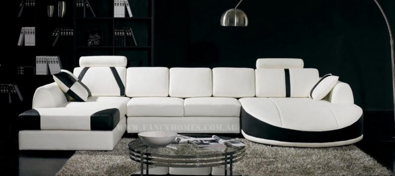 Fancy Homes Gina modular leather sofa in white and black leather