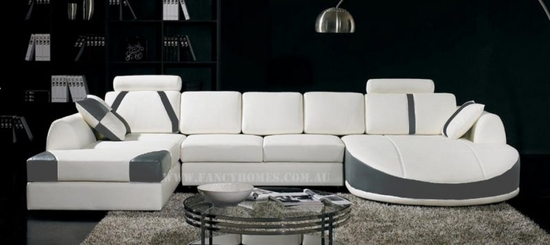 Fancy Homes Gina modular leather sofa in white and dark grey leather