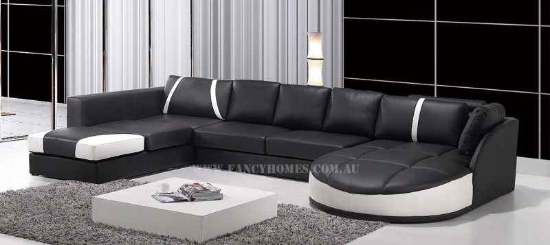 Fancy Homes Gina modular leather sofa in black and white leather
