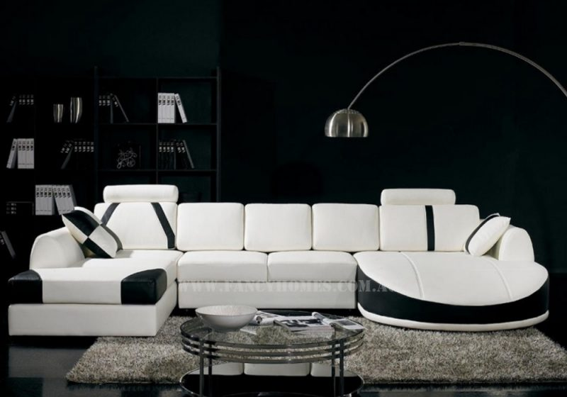 Fancy Homes Gina modular leather sofa in white and black leather with adjustable headrests and double chaises
