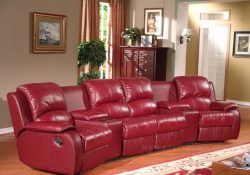 Fancy Homes Hugo Recliner Leather Sofa featuring storage consoles and cupholders