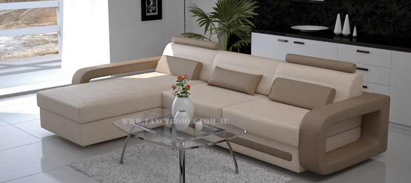 Fancy Homes Java-B chaise leather sofa in beige leather