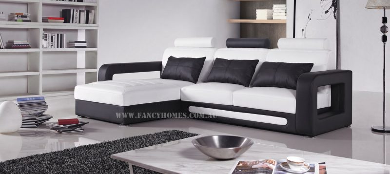 Fancy Homes Java-B chaise leather sofa in white and black leather