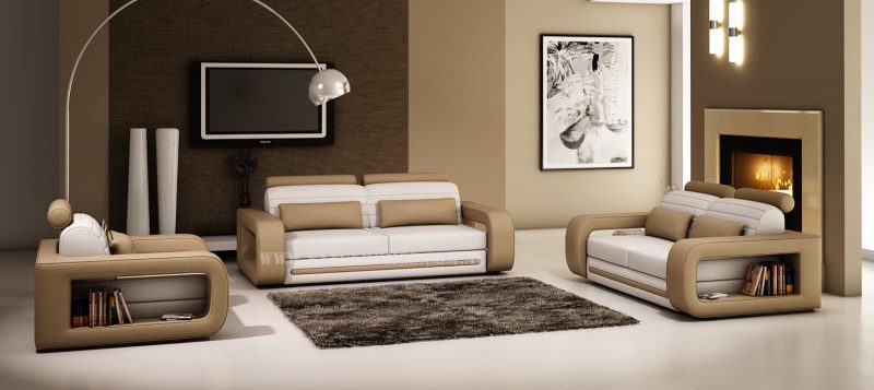 Fancy Homes Java-C lounges suites leather sofa in white and tan colour leather with easy-adjust headrests