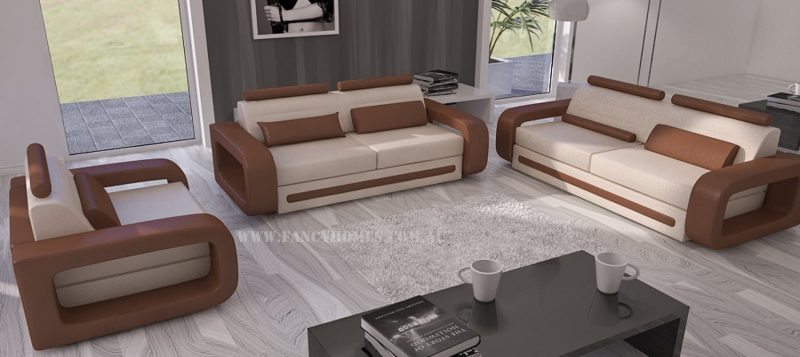 Fancy Homes Java-C lounges suites leather sofa in light beige and brown leather
