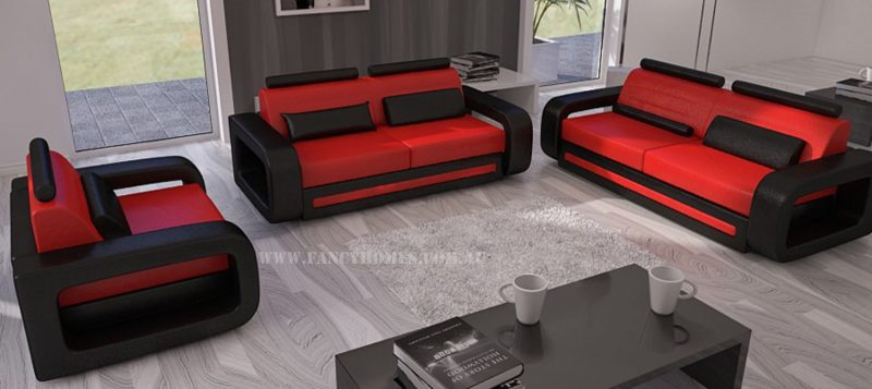 Fancy Homes Java-C lounges suites leather sofa in red and black leather