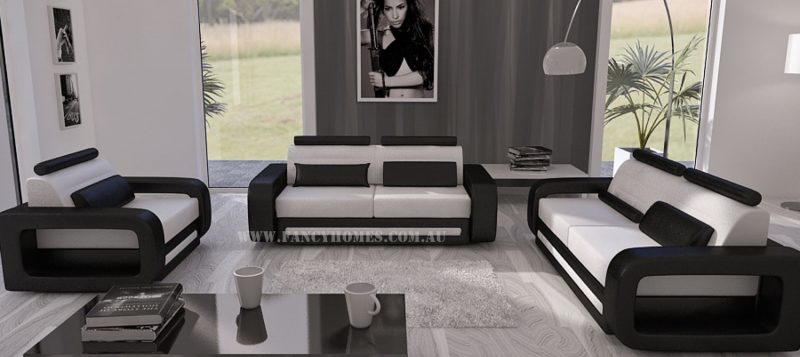 Fancy Homes Java-C lounge suites leather sofa in white and black leather