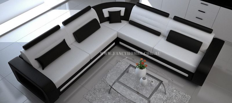 Fancy Homes Java-D corner leather sofa in white and black leather