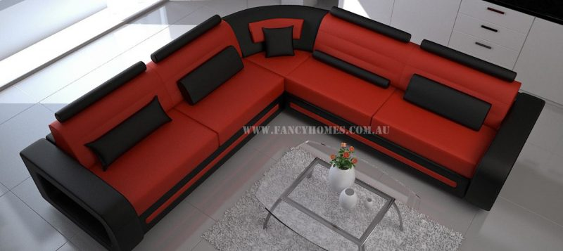 Fancy Homes Java-D corner leather sofa in red and black leather