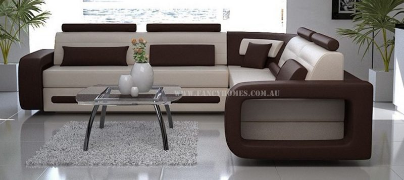 Fancy Homes Java-D corner leather sofa in creamy white and dark brown leather
