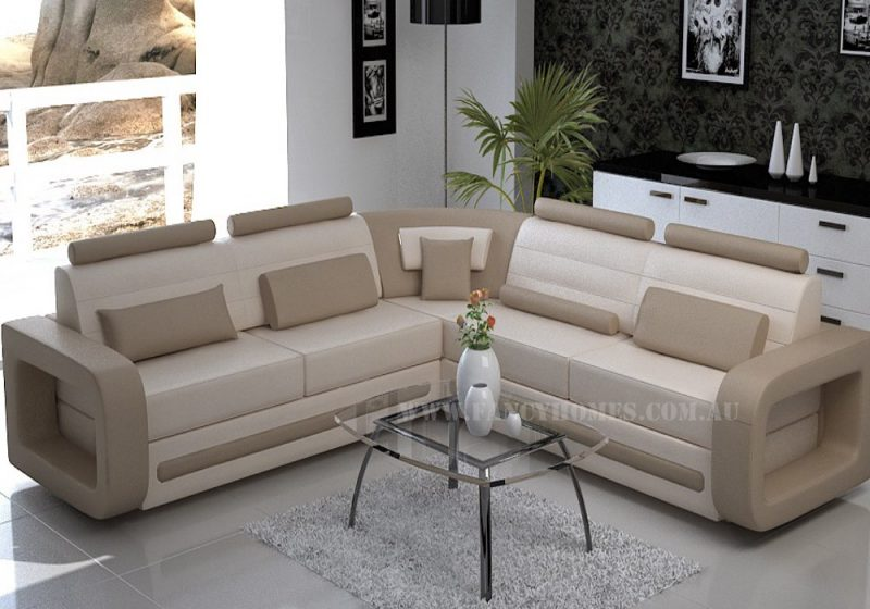 Fancy Homes Java-D corner leather sofa in cream and beige leather