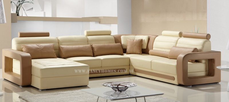 Fancy Homes Java modular leather sofa in cream and beige leather with easy-adjust headrests and unique armrests design