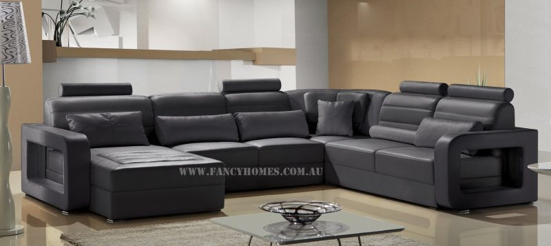 Fancy Homes Java modular leather sofa in black leather featuring easy-adjust headrests and unique armrest designs
