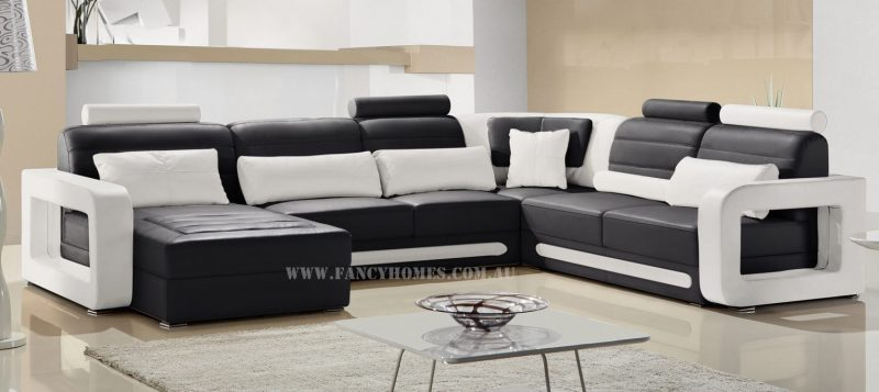 Fancy Homes Java modular leather sofa in black and white leather colour combinations featuring adjustable headrests and unique slim armrests design