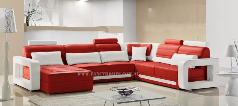 Fancy Homes Java modular leather sofa in red and white leather with unique slim armrests design and adjustable headrests