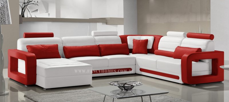 Fancy Homes Java modular leather sofa in white and red leather