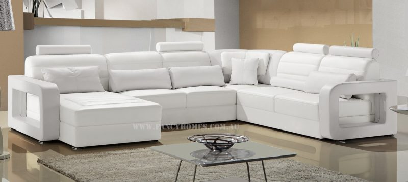 Fancy Homes Java modular leather sofa in white leather with adjustable headrests and unique armrests design