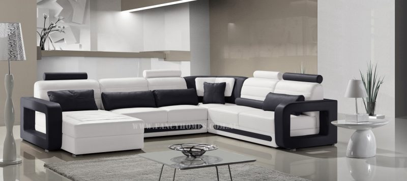 Fancy Homes Java modular leather sofa in white and black leather colour combinations