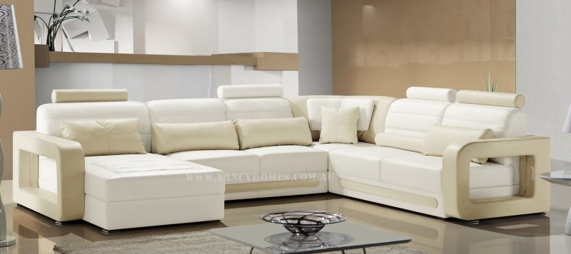 Fancy Homes Java modular leather sofa in white and beige leather featuring easy-adjust headrests and unique armrests design