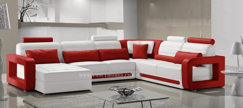 Fancy Homes Java modular leather sofa in white and red leather featuring unique armrests design and easy-adjust headrests
