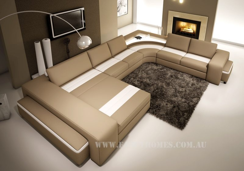 Fancy Homes Jesper modular leather sofa in beige and white leather features lighting system and removable ottomans