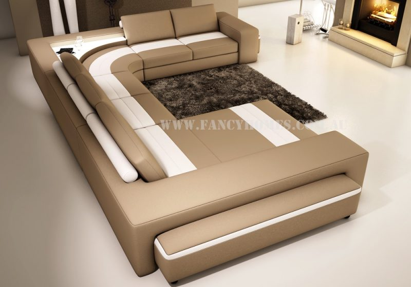 Fancy Homes Jesper modular leather sofa in beige and white leather