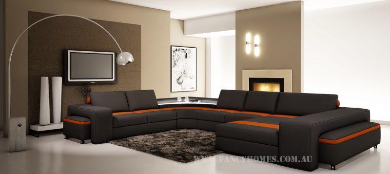 Fancy Homes Jesper modular leather sofa in black and orange