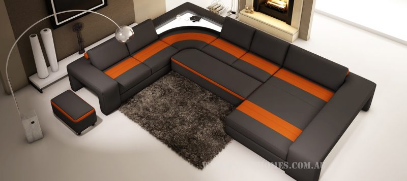 Fancy Homes Jesper modular leather sofa in black and orange leather