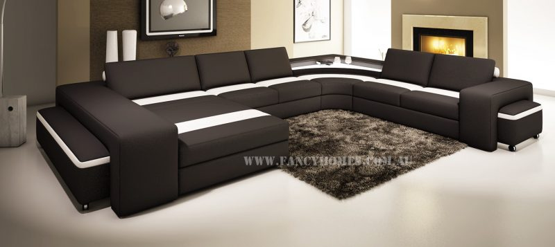Fancy Homes Jesper modular leather sofa in black and white leather