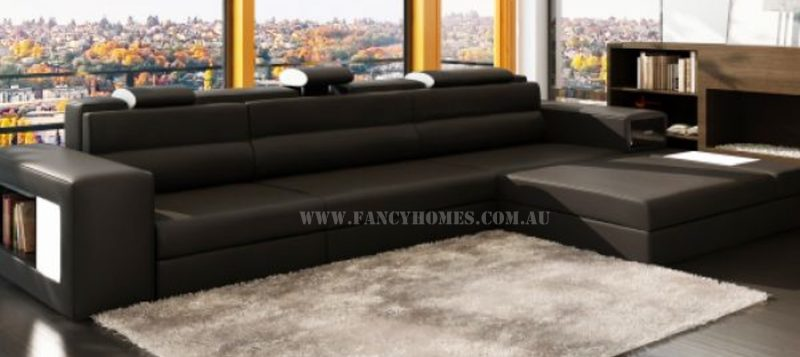 Fancy Homes Jolanda chaise leather sofa in dark grey and white leather
