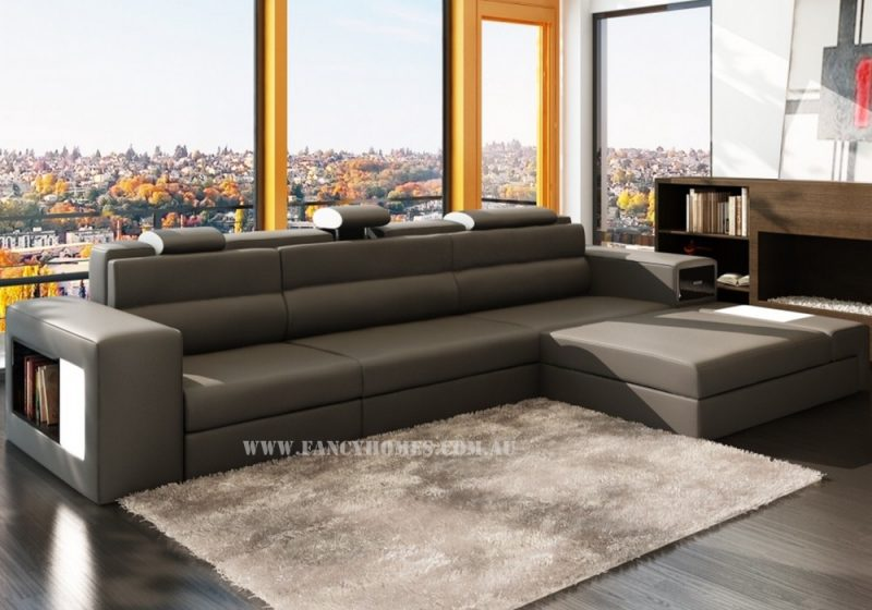 Fancy Homes Jolanda chaise leather sofa in dark grey and white leather featuring adjustable headrests, storage armrests, removable ottoman and lighting system