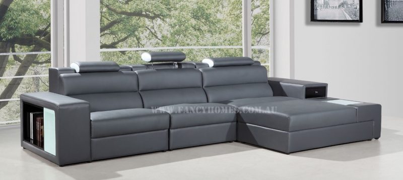 Fancy Homes Jolanda chaise leather sofa in grey and white leather