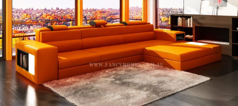 Fancy Homes Jolanda chaise leather sofa in orange and black leather