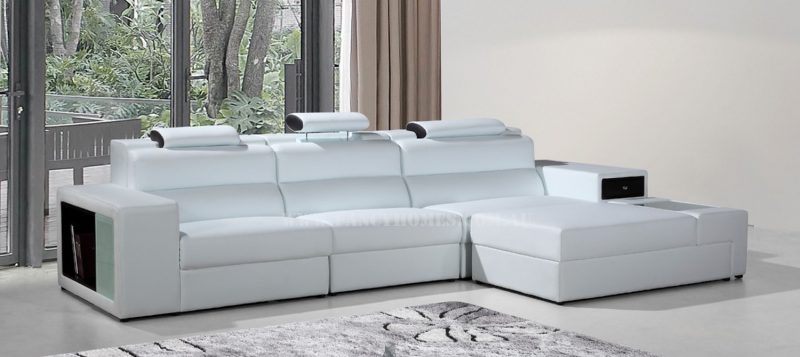 Fancy Homes Jolanda chaise leather sofa in white and black leather features in-built lighting system, storage armrests, adjustable headrests and removable ottoman