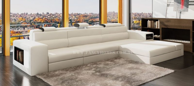 Fancy Homes Jolanda chaise leather sofa in creamy white and black leather