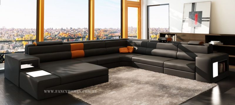 Fancy Homes Jolanda-B modular leather sofa in black and orange leather