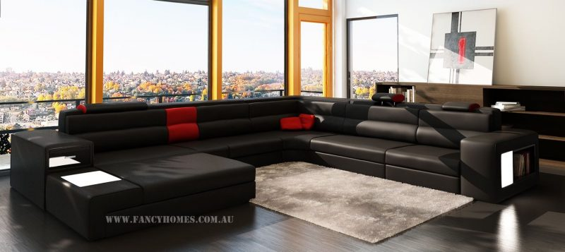 Fancy Homes Jolanda-B modular leather sofa in black and red leather