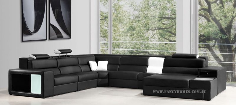 Fancy Homes Jolanda-B modular leather sofa in black and white leather