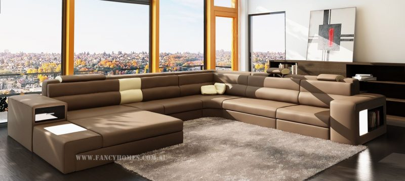 Fancy Homes Jolanda-B modular leather sofa in brown and cream leather
