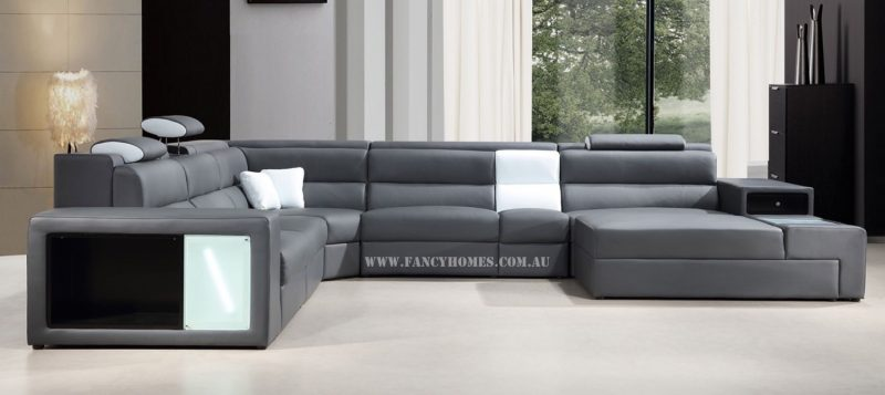 Fancy Homes Jolanda-B modular leather sofa in grey and white leather
