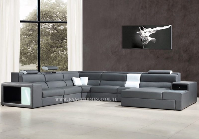 Fancy Homes Jolanda-B modular leather sofa in grey and white leather featuring storage armrests, removable ottoman, adjustable headrests and lighting system