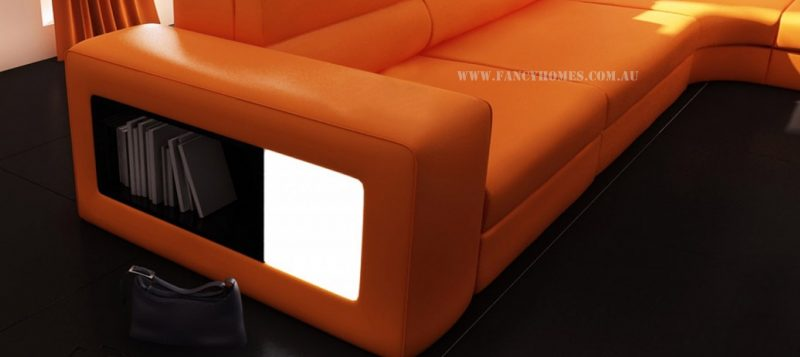 Fancy Homes Jolanda-B modular leather sofa features open storage with lighting system