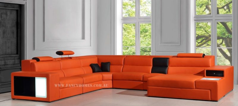 Fancy Homes Joland-B modular leather sofa in orange and black leather