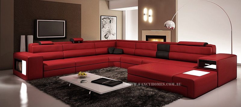 Fancy Homes Jolanda-B modular leather sofa in red and black leather