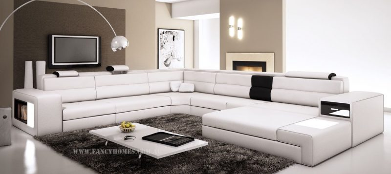 Fancy Homes Jolanda-B modular leather sofa in white and black leather